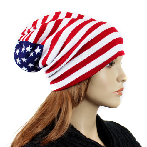 American Flag Knitted Beanie Hat
