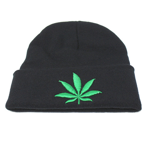 Embroidered Cannabis Leaf Knitted Beanie Hat Black Marijuana Weed Pot Black