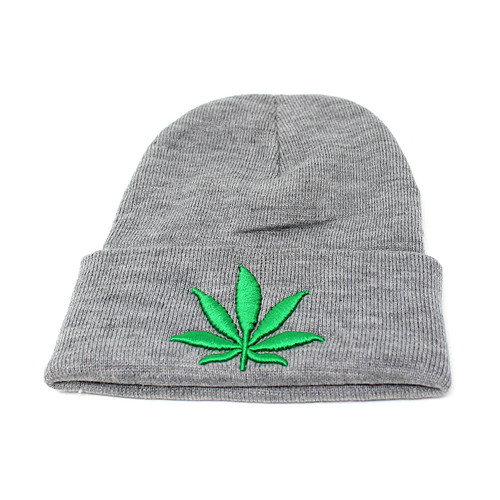 Embroidered Cannabis Leaf Knitted Beanie Hat Marijuana Weed Pot Grey