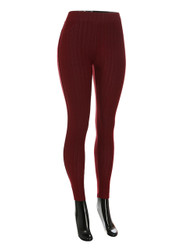 Compression Faux Jeggings with Dotted Lines Burgundy