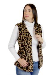 Soft Faux Fur Vest Leopard Print (L-XL)