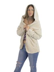 Ultra Soft Fuzzy Fleece Teddy Hoodie with Pockets Open Front Beige