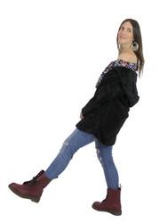 Ultra Soft Fuzzy Fleece Teddy Hoodie with Pockets Open Front Black