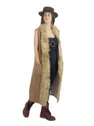 Luxurious Faux Fur Trimmed Long Vest Khaki