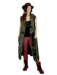 Luxurious Faux Fur Trimmed Long Vest Peacock Green