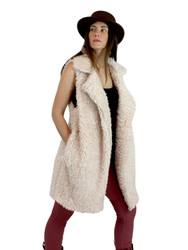 Shaggy Faux Fur Long Vest Beige