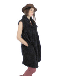 Shaggy Faux Fur Long Vest Black