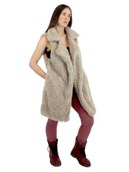 Shaggy Faux Fur Long Vest Khaki