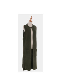 Cable Knit Long Vest with Pockets Olive