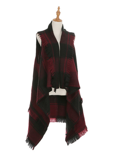 Black and Burgundy Checkered High Low Cape