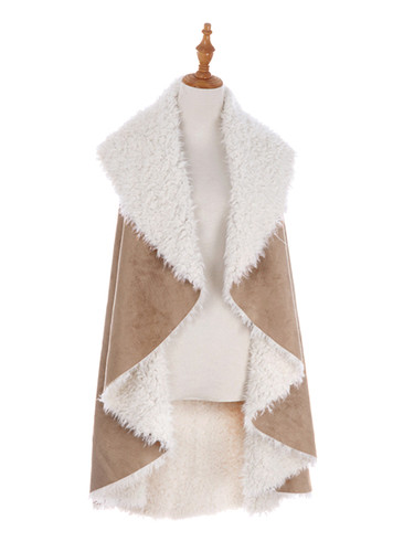 Cozy Faux Shearling Fur Cape Beige