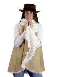 Cozy Faux Shearling Fur Cape Beige