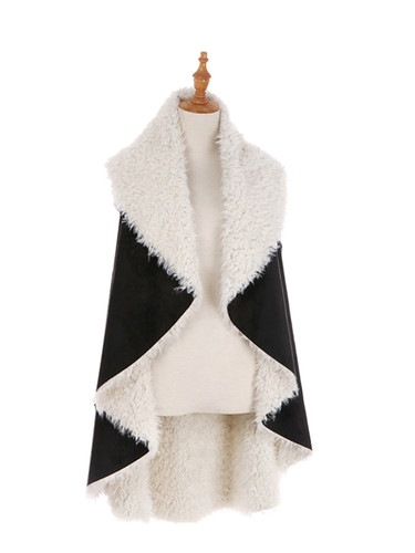 Cozy Faux Shearling Fur Cape Black