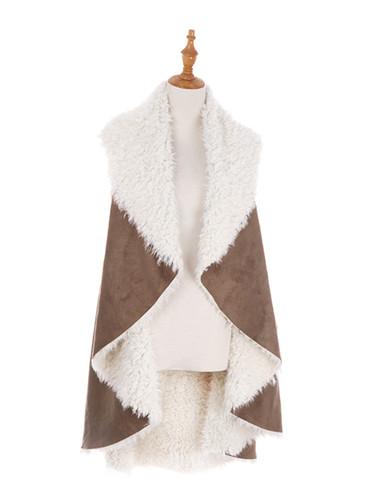 Cozy Faux Shearling Fur Cape Khaki