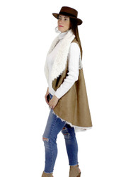 Cozy Faux Shearling Fur Cape Khaki
