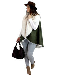 Cozy Faux Shearling Fur Cape Olive