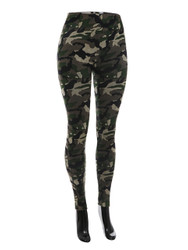 Comfy Terry Cloth Camouflage Leggings Green
