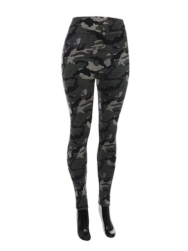 Comfy Terry Cloth Camouflage Leggings Grey