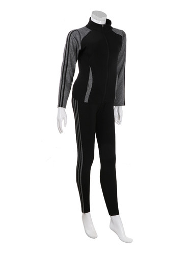 Comfy Activewear Set with Stripes Brushed Black L/XL