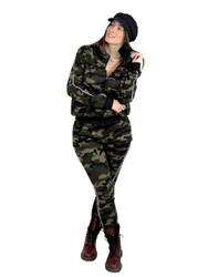 Camouflage Activewear Set Faux Fur Brushed