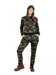 Camouflage Pullover Top and Pants Faux Fur Brushed L/XL