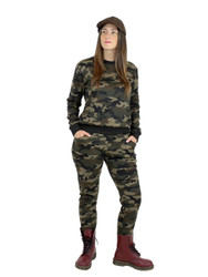 Camouflage Pullover Top and Pants Faux Fur Brushed S/M