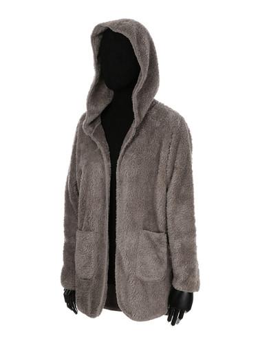 Ultra Soft Fuzzy Fleece Teddy Hoodie with Pockets Open Front Khaki