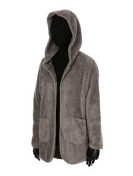 Ultra Soft Fuzzy Fleece Teddy Hoodie with Pockets Open Front Khaki