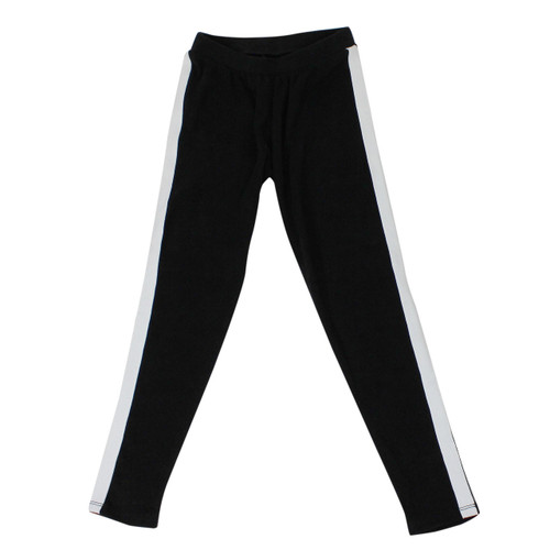 Girl's Stripe Detail Sweatpants Soft and Comfy Black Small