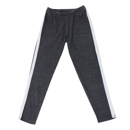 Girl's Stripe Detail Sweatpants Soft and Comfy Dark Grey Large