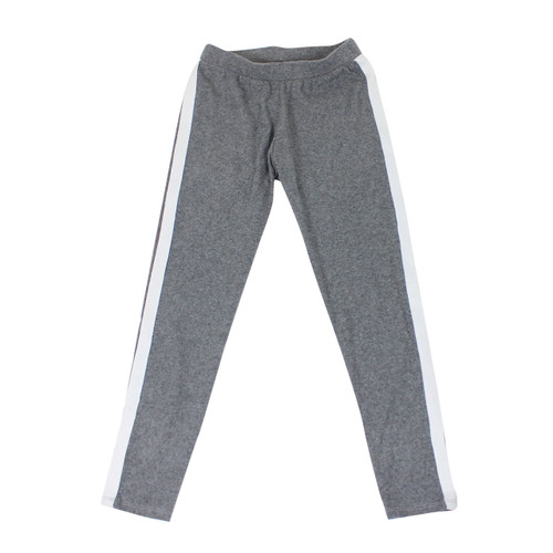 Girl's Stripe Detail Sweatpants Soft and Comfy Light Grey Medium