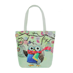 Bookworm Owl and Birds Tote Beach Bag