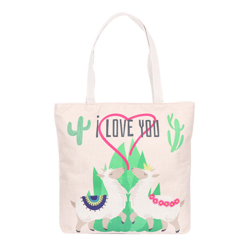 Llamas In Love Tote Beach Bag