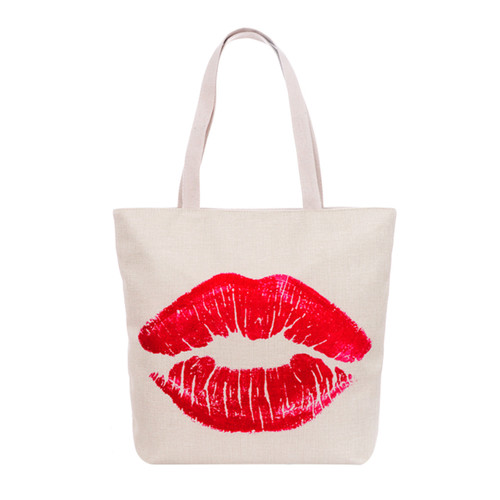 Red Lips Tote Beach Bag