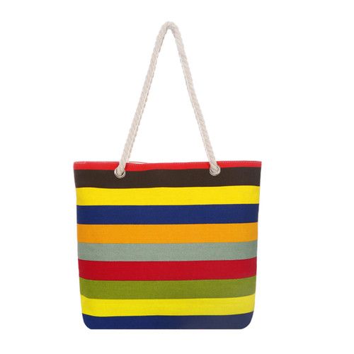Thick Rainbow Stripes Tote Beach Bag