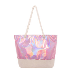 Tow Toned Pink Vinyl and Canvas Tote Beach Bag