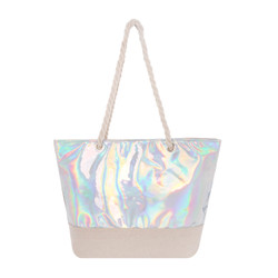 Tow Toned Silver Vinyl and Canvas Tote Beach Bag