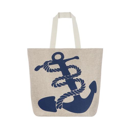 Navy Anchor Canvas Large Tote Beach Bag