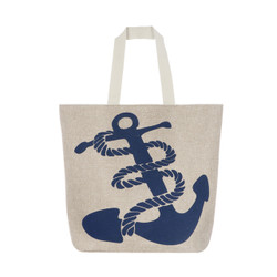 Navy Anchor Canvas Large Tote Beach Bag