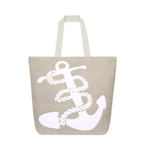 White Anchor Canvas Large Tote Beach Bag