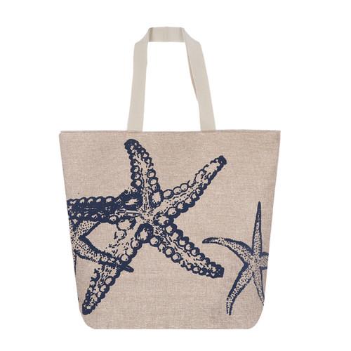 Navy Starfish Canvas Large Tote Beach Bag