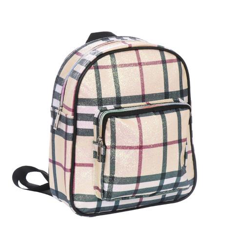 Haymarket Checkered Glittering Backpack Fashion Bag Beige
