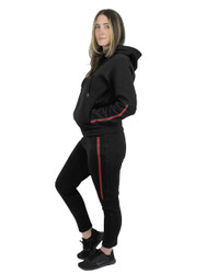 Black Brushed Hoodie and Sweatpants Set with Red Green Stripes for Women (L)