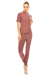 Soft Striped Short Sleeve Hoodie and Leggings Set Pink M-L