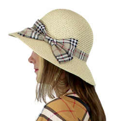 Women's Straw Hat Bucket Haymarket Bow Beige