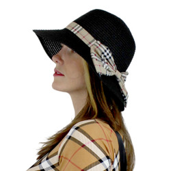 Women's Straw Hat Bucket Haymarket Bow Black