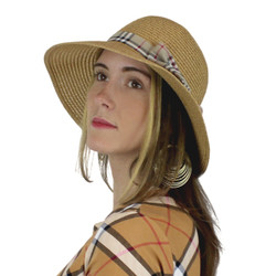 Women's Straw Hat Bucket Haymarket Bow Khaki