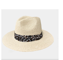 Virginy Straw Hat Leopard Print Band Beige