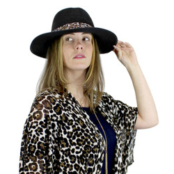 Virginy Straw Hat Leopard Print Band Black