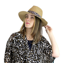 Virginy Straw Hat Leopard Print Band Khaki